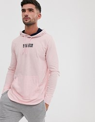 Hollister Chest Logo Hooded Long Sleeve Top In Light Pink