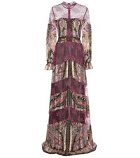 Etro Lace Trimmed Printed Silk Dress Multicoloured