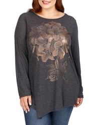 Lucky Brand Plus Plus Floral Long Sleeve Top Black