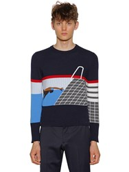 Thom Browne Intarsia Stripes Cashmere Sweater Navy