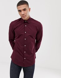 French Connection Plain Poplin Slim Fit Shirt Red