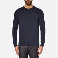 Boss Orange Men's Albinon Crew Neck Knitted Jumper Dark Blue