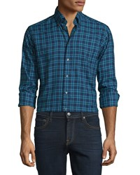 Eton Plaid Long Sleeve Woven Sport Shirt Navy Turquoise Men's