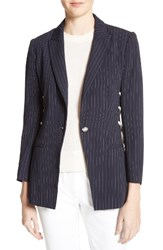 Veronica Beard Women's Taylor Lace Up Pinstripe Blazer Navy White Stripes