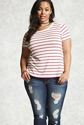 Forever 21 Plus Size Striped Tee Cream Red