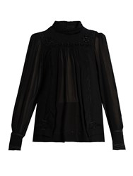 Isabel Marant Maeva High Neck Embroidered Silk Top Black