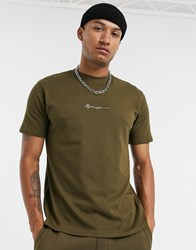 Mennace Essential Signature T Shirt In Khaki Green