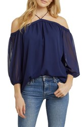 1.State Women's Off The Shoulder Chiffon Blouse Evening Sky