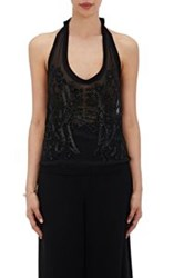 Loyd Ford Beaded Halter Top Black