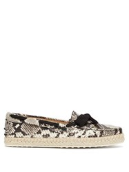 Tod's Python Effect Leather Espadrilles White Multi