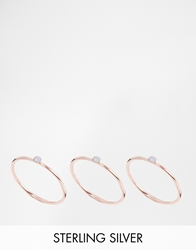 Asos Rose Gold Plated Sterling Silver Fine Opal Stack Rings Blue