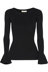 Michael Michael Kors Ribbed Stretch Knit Sweater Black