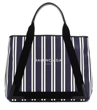 Balenciaga Navy Cabas M Striped Canvas Shopper Blue