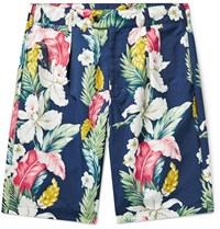 Engineered Garments Pleated Floral Print Microfibre Shorts Blue