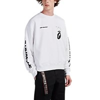Off White C O Virgil Abloh Structure Print Diagonal Ribbed Sweatshirt White
