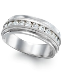 Macy's Men's Diamond Milgrain Trim Ring In 14K White Gold 1 Ct. T.W.