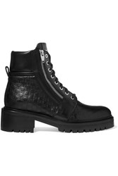 Balmain Ranger Logo Debossed Leather Ankle Boots Black