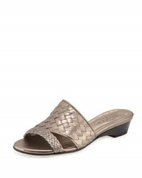 Sesto Meucci Gabri Woven Leather Slide Sandal Pewter