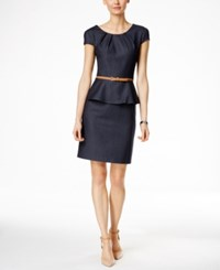 Connected Petite Belted Peplum Sheath Dress Navy