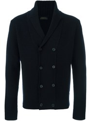 Z Zegna Double Breasted Cardigan Blue