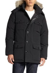 Canada Goose Banff Fur Trimmed Puffer Coat Dark Blue