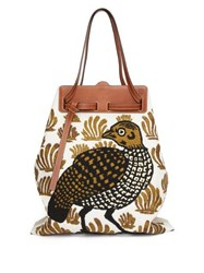 Loewe Lazo Bird Embroidered Canvas Tote Bag White Multi