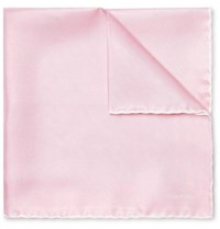 Tom Ford Contrast Tipped Silk Twill Pocket Square Pink