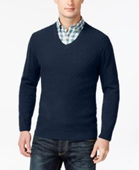 Club Room Big And Tall Diamond Knit Pattern V Neck Sweater Only At Macy's Navy Blue
