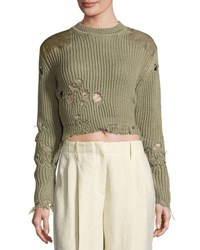 Yeezy Destroyed Shoulder Patch Sweater Forest Green
