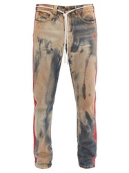 Off White Bleached Distressed Slim Leg Jeans Multi