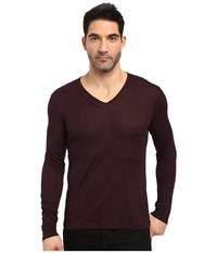 John Varvatos Long Sleeve Knit V Neck W Pintuck Details K2807s3l Port Men's Clothing Burgundy
