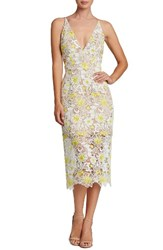 Dress The Population Women's Aurora Floral Midi White Yellow Floral