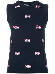 Thom Browne Bow Cashmere Navy Crew Neck Blue