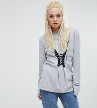 Milk It Vintage Long Sleeve Top With Lace Up Detail Grey