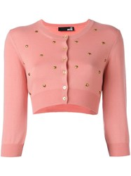 Love Moschino Studded Cropped Cardigan Pink Purple