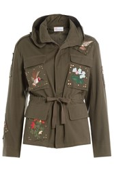 Red Valentino Cotton Jacket With Embroidery Green