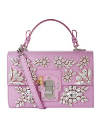 Dolce And Gabbana Lucia Embellished Leather Shoulder Bag Female Light Pink