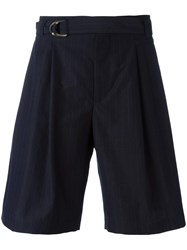 Maison Flaneur Belted Shorts Blue