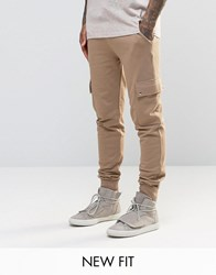 Asos Skinny Joggers In Light Camel With Cargo Pockets Sand Dune Tan