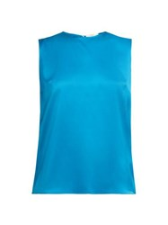 Roksanda Ilincic Kobe Silk Satin Top Blue