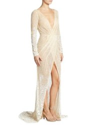 Berta Long Sleeve Beaded Gown Champagne