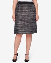Tahari By Arthur S. Levine Asl Plus Size Metallic Boucle A Line Skirt Black Grey Ivory