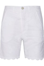 Mih Jeans Aphex Scalloped Embroidered Linen And Cotton Blend Shorts White