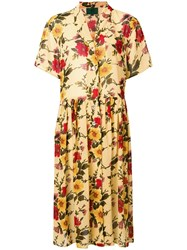 Jean Paul Gaultier Vintage Floral Shirt Dress Yellow And Orange