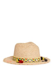 Venna 'Dreaming' Tribal Embroidered Pompom Band Straw Hat Neutral