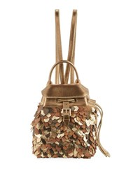 Ralph Lauren Metallic Leather Micro Backpack Gold
