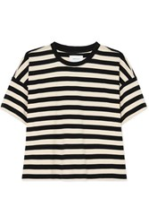 Current Elliott The Roadie Striped Cotton Jersey T Shirt Black
