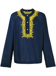 Massimo Piombo Mp Embroidered Trim Buttoned Tunic Blue