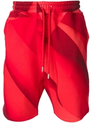 Christopher Kane Pages Print Track Shorts Red