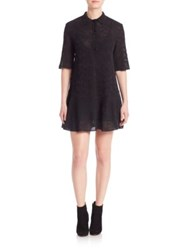 M Missoni Elbow Length Sleeve Polo Collar Dress Black
